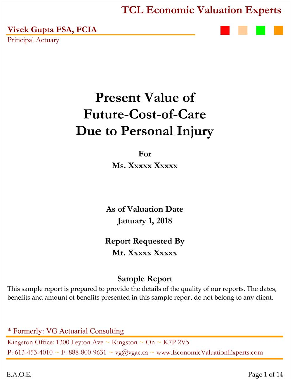 Sample Future Cost of Care Reports